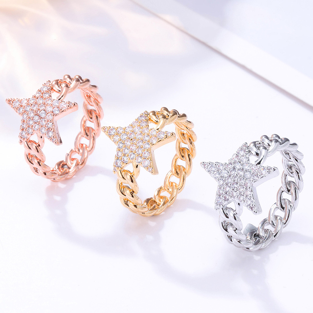 Crystal Star Ring For Women Gold Color Cubic Zirconia Pentagram Rings Party Jewelry Womens Gift Bijoux femme 2020 Wholesale