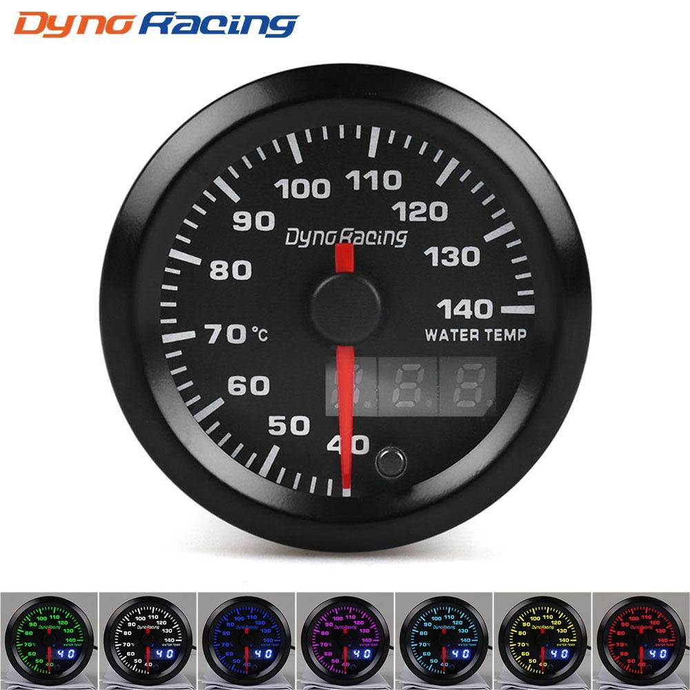 Dynoracing-2-52mm-Dual-Display-Water-temp-gauge-40-140-Celsius-7-colors-Led-Water-temp