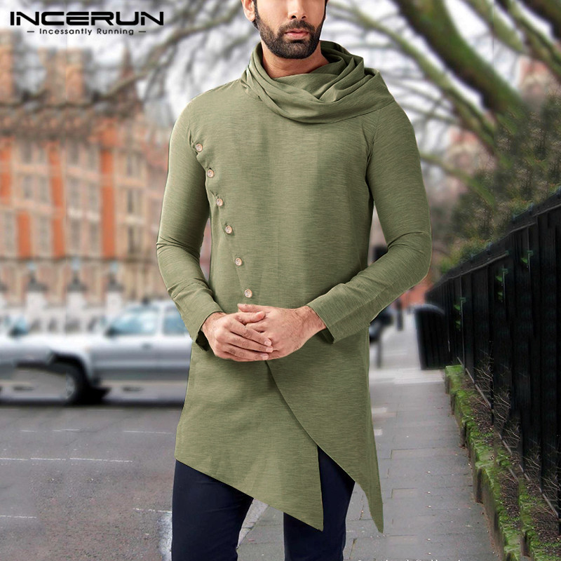 INCERUN Vintage Indian Men Shirts Long Sleeve 2020 Solid Color Turtleneck Men Muslim Clothes Irregular Long Dress Shirts S-5XL 7