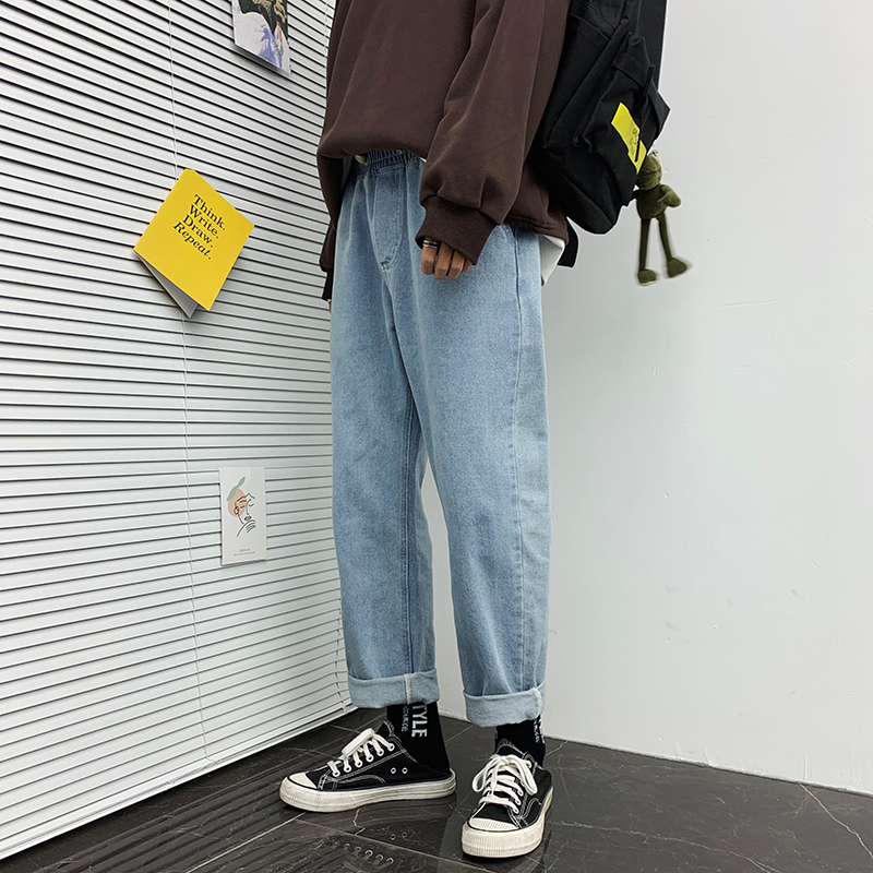 2019 Men's Leisure Casual Pants Baggy Homme Wash Jeans Loose Cargo Pocket Biker Denim 4 Color Cowboy Trousers Big Size M-4XL