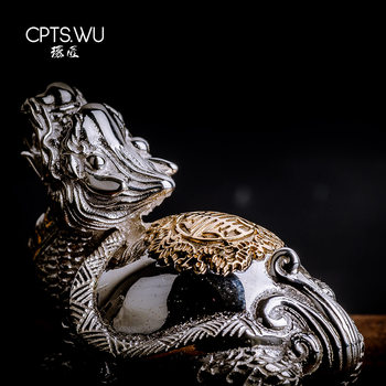 CPTS.WU S925 Silver Sculpture China Dragon Turtle Statue Desktop Oranments Home Decor Traditional Divine Beast Decoration abstract thinker statue creative desktop diy decor hand carved sandstone statues home decoration accessorie decorative sculpture