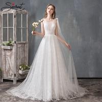 SERMENT Simple and Elegant Lace Light Wedding Dress Square Collar Lace Up Suitable for Slim Bride Court Train