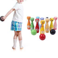 Conjunto De Boliche de Madeira Pinos 3 10 pçs/set 13 Animais Bola de Boliche Jogo para Crianças Dropshipping