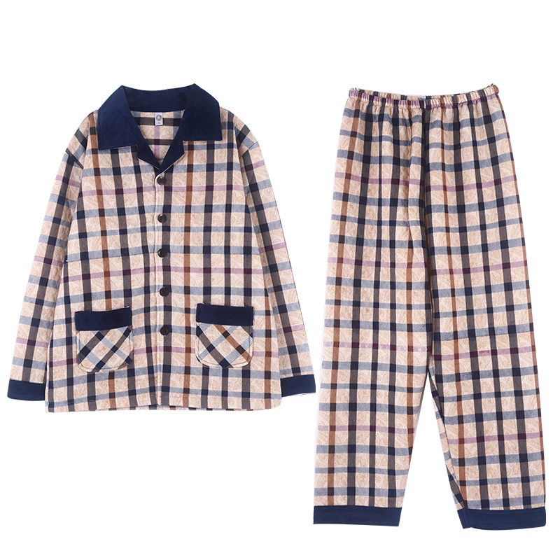 Sleep Wear Men Pijama Cotton Big Pajama Set Cardigan Long Sleeves Button Top Plaid Printing Luxury Mens Home Suit Cotton Pajamas