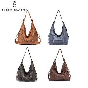 Image 4 - SC sac à main Vintage en cuir véritable pour femmes, grands sacoches décontracté rétro pour filles, Patchwork fait à la main