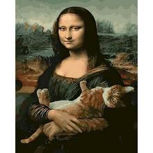 Piękno Mona Lisa Diy obrazy olejne według liczb ręcznie malowane na płótnie unikalny zestaw akrylowy obraz dla dorosłych do dekoracji wnętrz prezent artystyczny