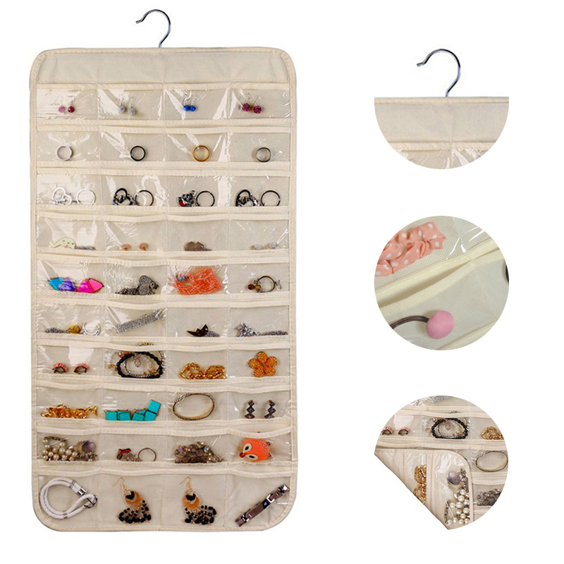 80 Grids Pockets/Set Organizes Box Hanging Jewelry Organizer Display Earring Rings Bracelets Storage Bag Hanger