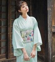 Women's Yukata Traditional Japan Kimono Robe Photography Dress Cosplay Costume light green Color trees Prints Vintage Clothin