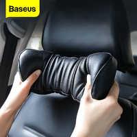 Baseus-almohada de cuello para coche reposacabezas de cuero PU ajustable, 3D, espuma de memoria, funda para cojín de asiento, coche, descanso del cuello, accesorios para automóvil