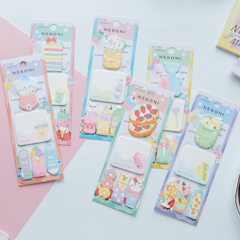 Strawberry Bear Wish Bottle Soup Nekoni Memo Pad Sticky Notes Memo Notebook Stationery Papelaria Escolar School Supplies
