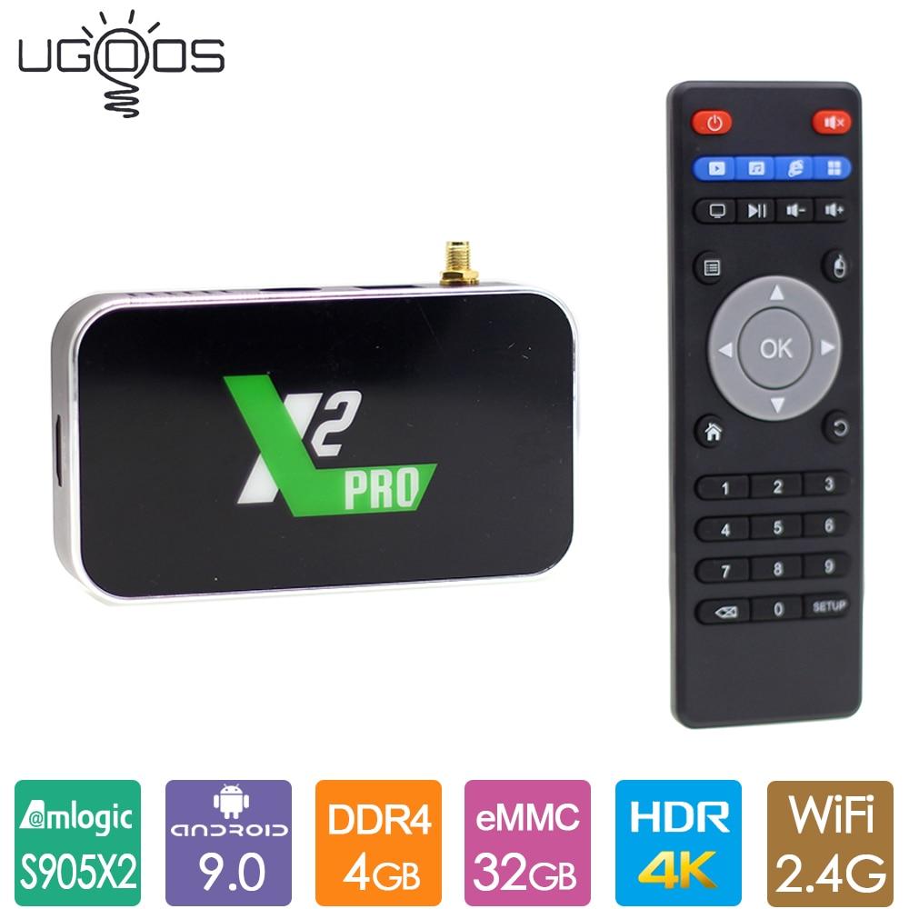 2019 nouveau Ugoos X2 Pro Android 9.0 TV Box Amlogic S905X2 DDR4 4GB 32GB Smart TV Box 2.4G 5G WiFi 4K lecteur multimédia X2pro