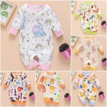 New Newborn Baby Clothes Boys Girls Romper Floral Dinosaur Car Printed Long Sleeve Cotton Romper Kids Jumpsuit Playsuit Outfits on AliExpress