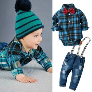 Image 2 - Newborn Baby Boy Denim Clothes Cotton Plaid Rompers Gentleman Bib Jeans Clothing Suit Outfit 6   24M