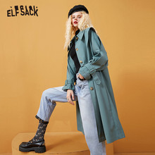 Outwear Trench-Coat ELFSACK Green Office Autumn Korean Full-Sleeve Single-Breasted Casual