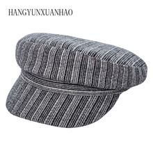 HANGYUNXUANHAO 2019 New Octagonal Hats Women Autumn Winter Cap Flat Top Berets Vintage Striped Caps