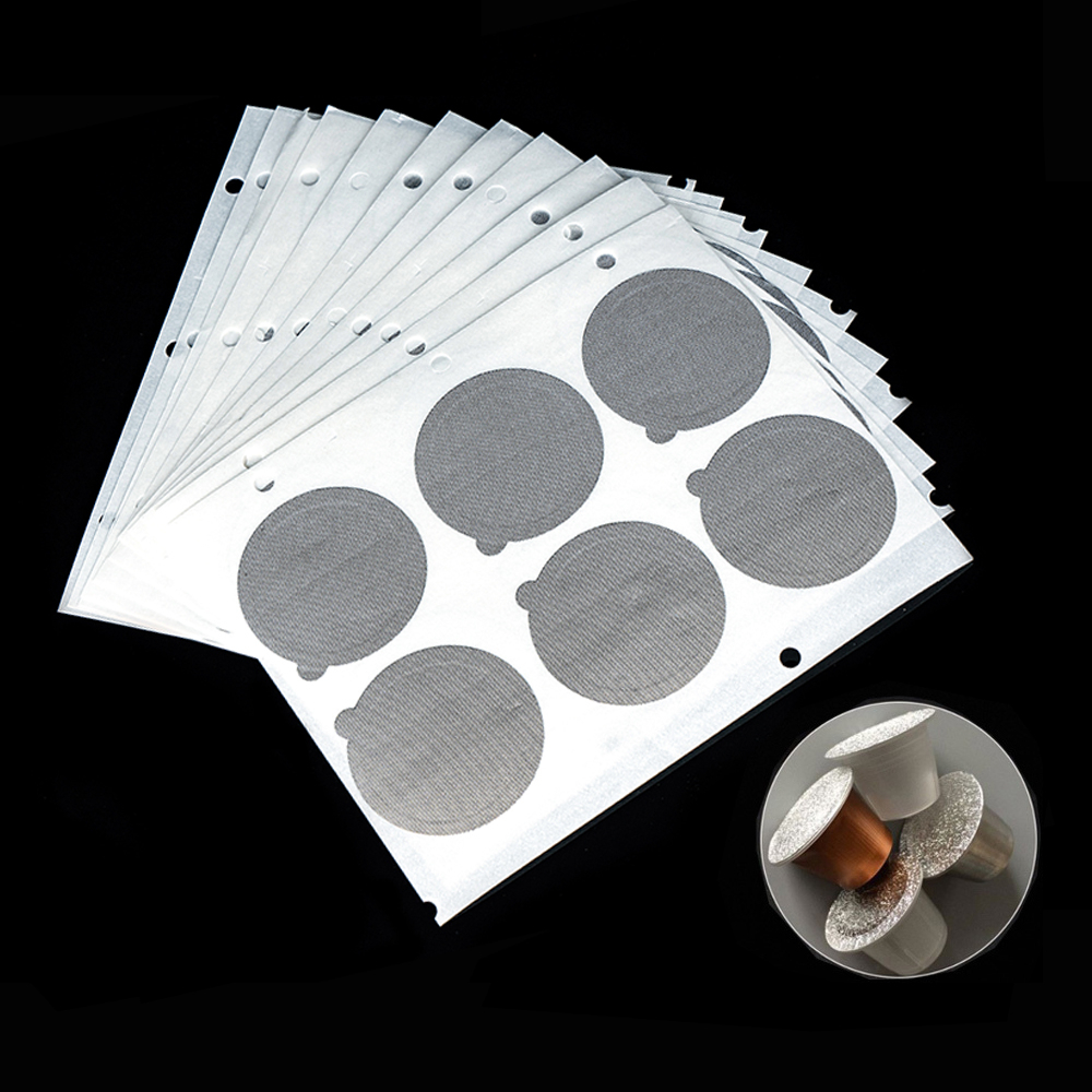 2000PC Refillable Nespresso Coffee Capsule Flim Sticker Refilling Stainless Steel Capsule Self Adhesive Aluminum Foil Brewer Lid