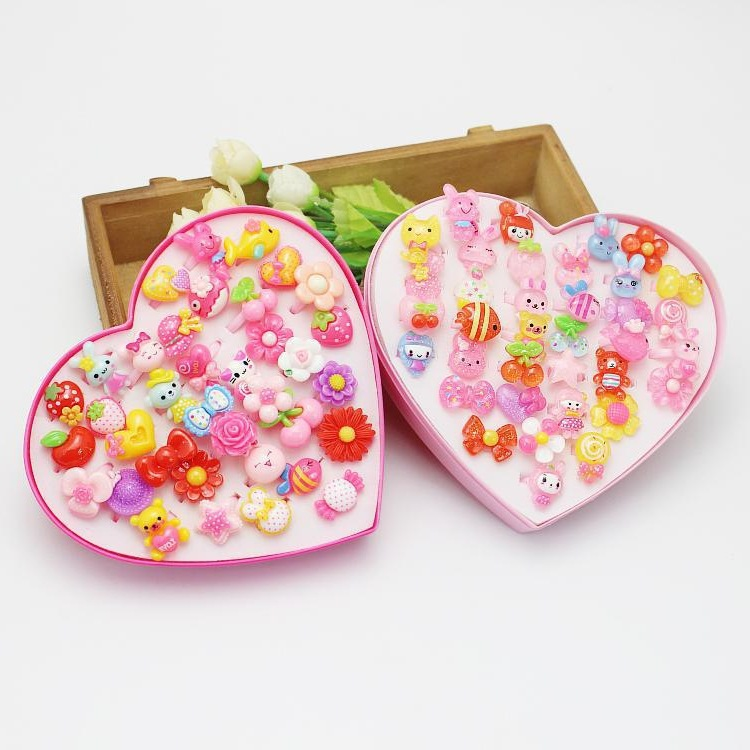 50 GIRL'S Small Ring Women's CHILDREN'S Ornaments Ring Heart-Shaped Box GIRL'S Toy Accessories Forefinger Decoration Jewelry