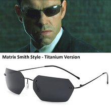 HBK 2020 The Matrix Agent Smith Style Polarized Sunglasses Rivets Men Driving titanium polygon Sun Glasses for Men