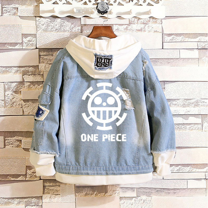 New Anime One Piece Denim <font><b>Bomber</b></font> <font><b>Jacket</b></font> ONE PIECE D Luffy Hooded Jeans Sweatshirt <font><b>Unisex</b></font> Ripped Hole Cosplay Hoodie image
