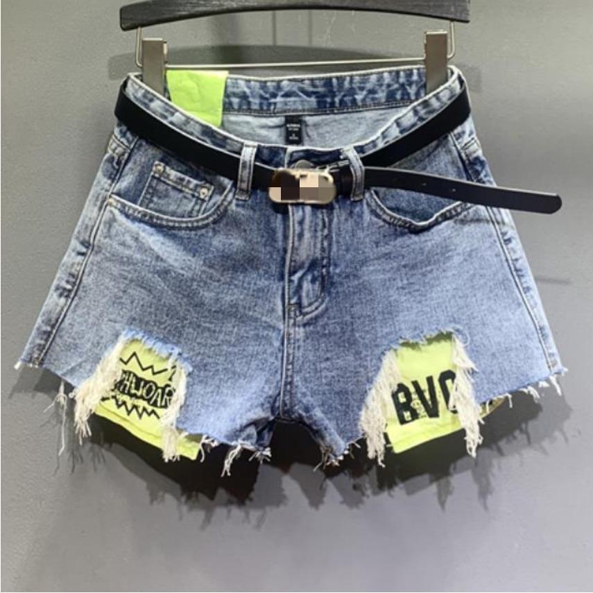 Denim Shorts Women Summer New High Waist Hole Taste Pocket Letter Loose Wide Leg Jeans Shorts