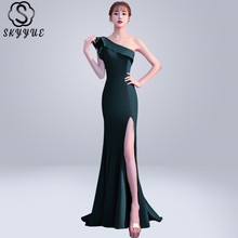 Skyyue Evening Dress One Shoulder Robe De Soiree Short Sleeve Women Party Dresses 2019 Plus Size Split Ruffles Formal Gowns C091 цена