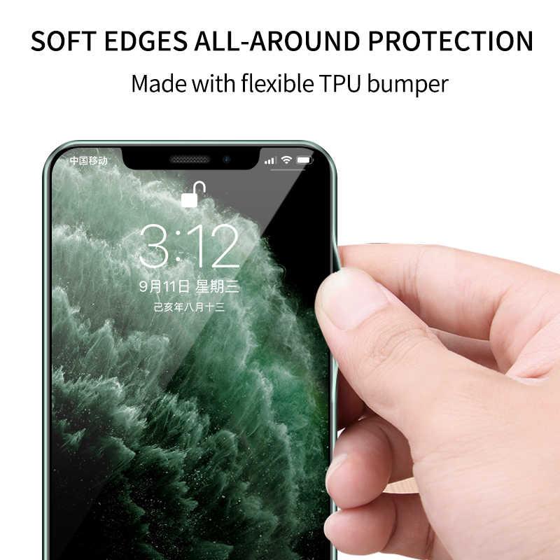 IHaitun 11 Pro Max Casos De Vidro De Luxo Para o Caso do iphone Ultra Fino Transparente Tampa De Vidro Para o iphone XS MAX XR X 10 7 8 Borda Suave 11 Pro Max 7 8 Plus