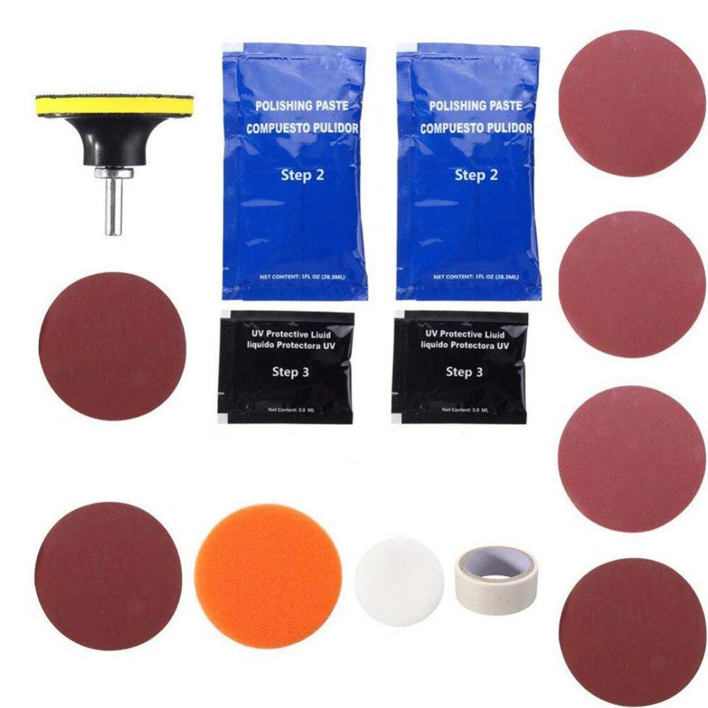 Купить с кэшбэком Visbella 2KIT/LOT DIY Headlight Restoration Headlamp Brightener Kit for Car Headlamp Lenses Polish Paste Repair Hand Tool Sets
