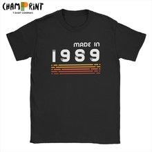 T-Shirt manches courtes col ras du cou pour homme, en coton imprimé, rétro, fait en 1989, cadeau d'anniversaire