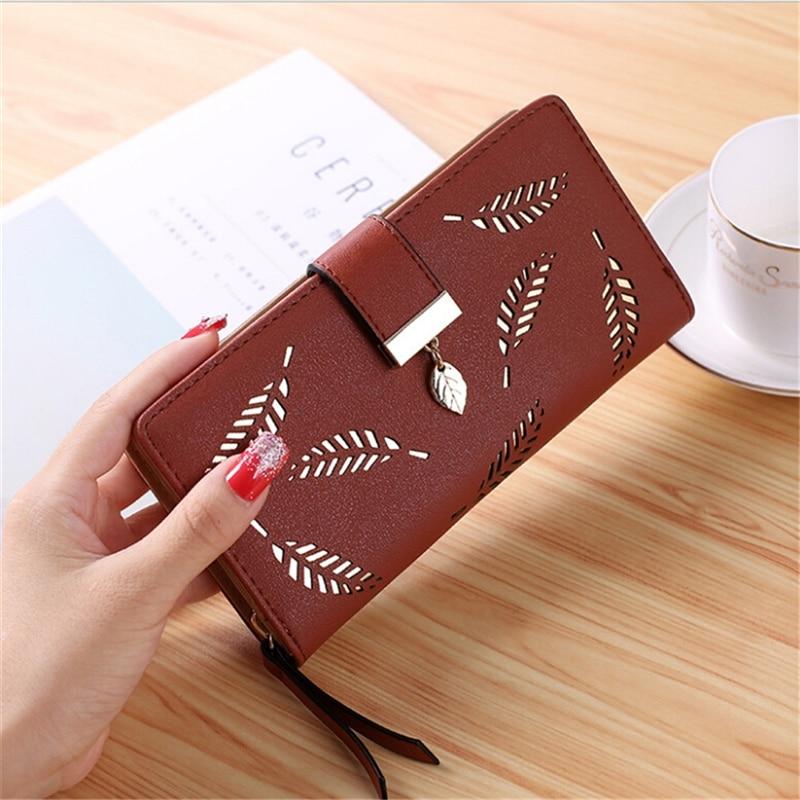2019 Brand Leaves Hollow Women Wallet Soft PU Leather Women's Clutch Wallet Female Designer Wallets Coin Card Purse