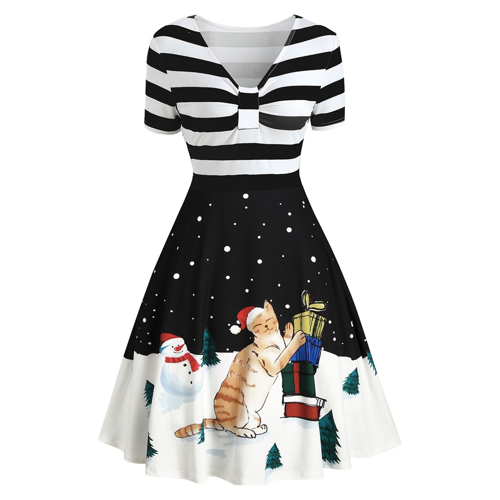 Christmas Dress Women 1950s Stripe Tie Up Printing Vintage Dresses Ladies Gown Evening Party Dress Rockabilly Swing Midi Vestido