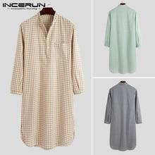 Men Bathrobes Nightgown Dress Sleepwear Plaid Soft INCERUN Stand-Collar Comfortable Leisure