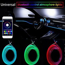 цена на RGB Ambient Light LED Atmosphere Light For Car Interior Neon Strip Optical Fiber Remote Phone control Decorative Lamp 12V