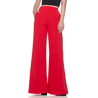 Women's High Waist Fashion Solid Loose Wide Long Trousers Flowing Palazzo Pants  Flowing Palazzo Cargo Pants Women Elegant Lady