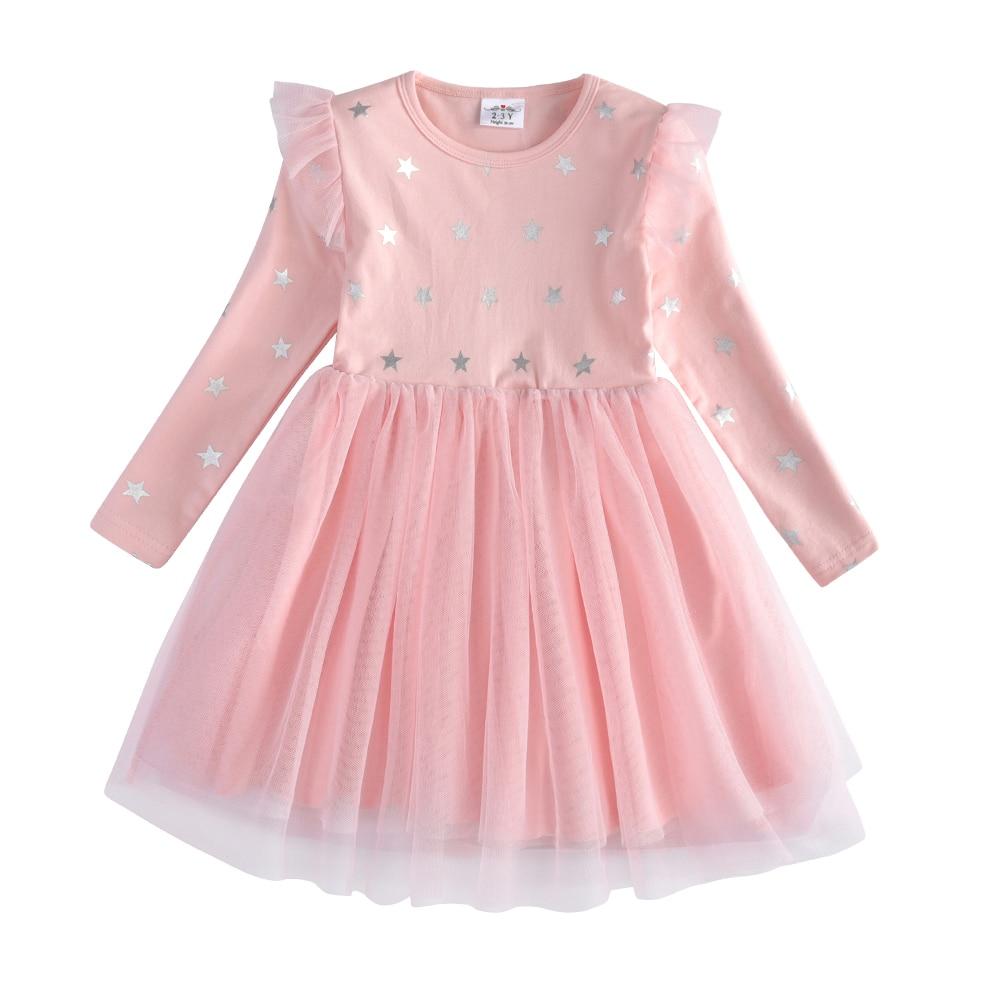VIKITA Kids Long Sleeve Dresses for Girls Party Dress Star Printed Birthday Tutu Dresses Children Casual Wear Princess Vestidos 16
