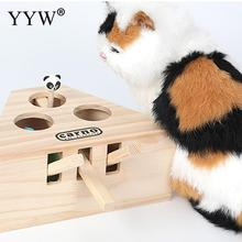 Cat Toys Pet Indoor Solid Wooden Hunting Toy Interactive 3/5-holed Mouse Seat Scratch Cats Play Best Gift
