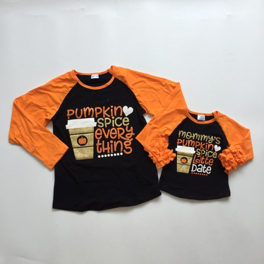 Fall Halloween Baby Girls Boutique T-shirts Clothes Pumpkin Spice Everything Cotton Top Children Raglans Icing Sleeve Mommy & Me
