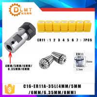 7 Uds acero rico en carbono ER11 Pinza de resorte 1/2/3/4/5/6/7mm con varilla de extensión ER11A eje del Motor 4MM 5MM 6MM 6,35 8MM