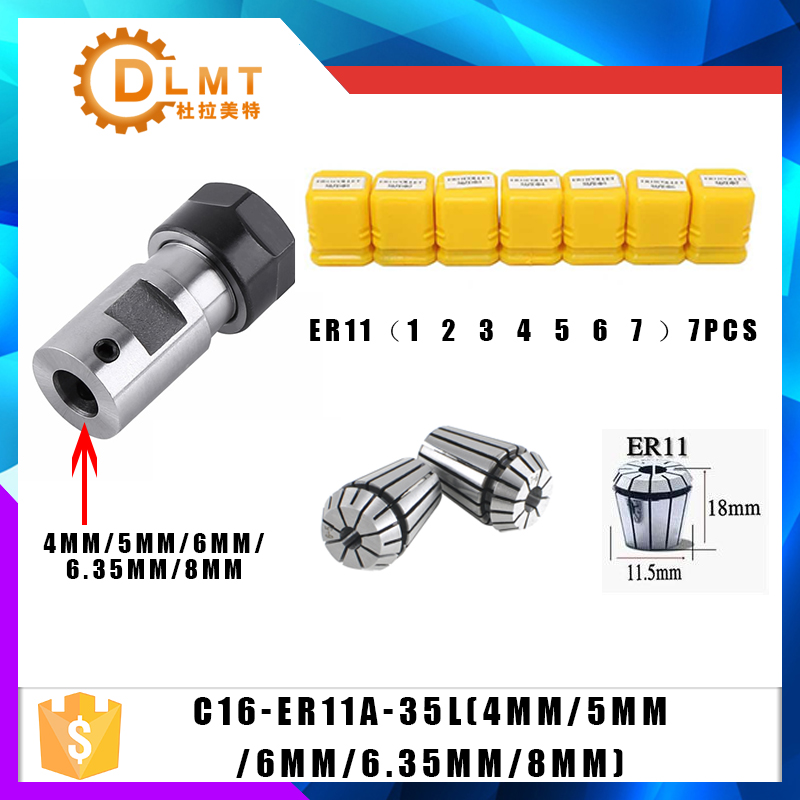 7pcs High Carbon Steel ER11 Spring Collet 1/2/3/4/5/6/7mm With ER11A Extension Rod Motor Shaft HolderInner 4MM 5MM 6MM 6.35 8MM