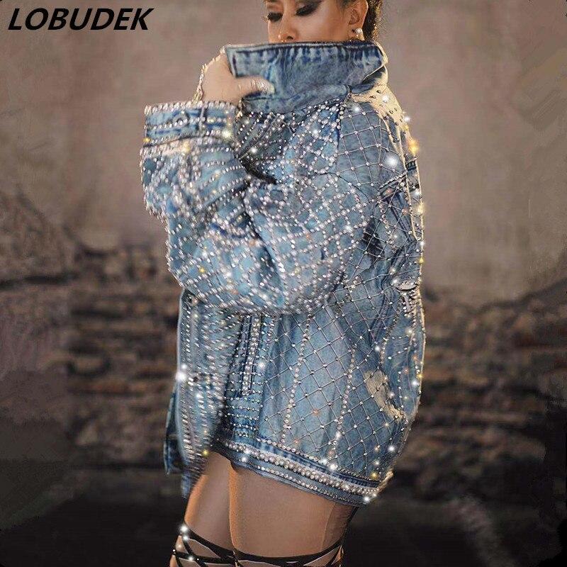 Джинсовая куртка, блестящие стразы, жемчужные бусины, свободное синее Ковбойское пальто в стиле хип хоп, танцовщица, DJ певица, одежда для сце