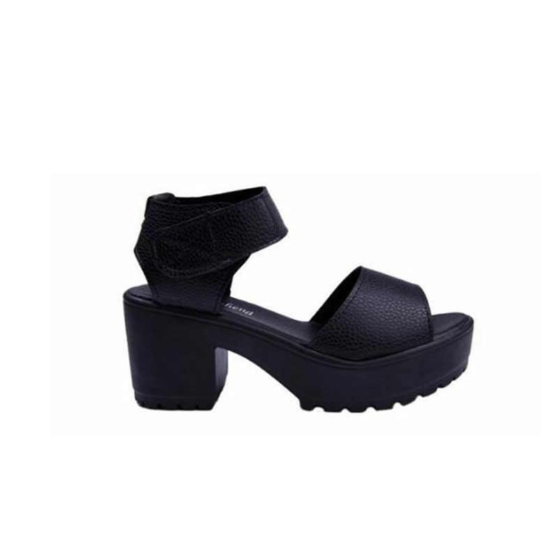 Kostenloser versand schuhe frau 2019 sommer frau sandale schuhe mit hohen absätzen starke ferse offene spitze plattform sandalen plattform weiß