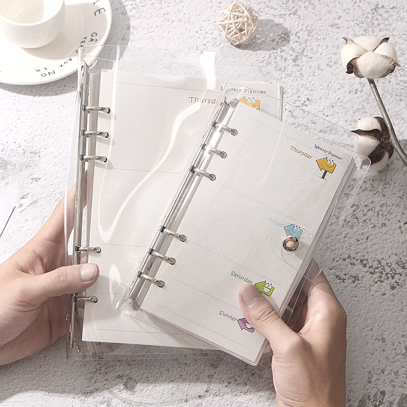 A5 A6 Loose-leaf Notepad Case Cover Transparent Shiny Replaces Notebook 6 Holes Inner Pages Paper Shell