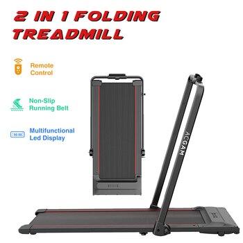 ACGAM-Cinta de caminar plegable T02P 2 en 1, caminadora eléctrica de escritorio, equipo de gimnasio para ejercicio en interiores, máquina para caminar con pantalla LED