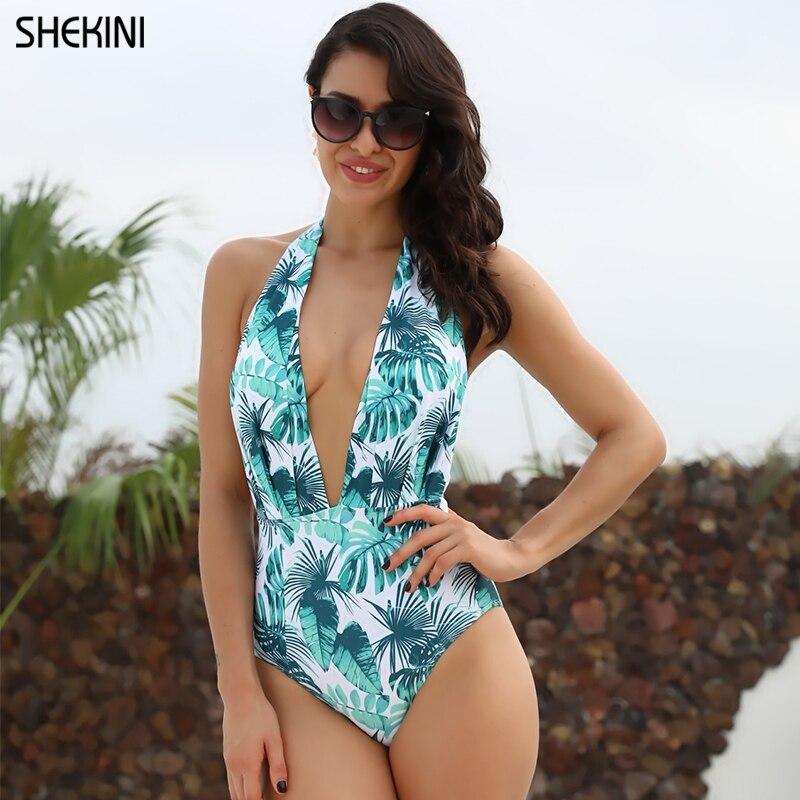 LINKIOM Women One Piece Swimsuit High Neck Plunge Mesh Ruched Monokini Swimwear