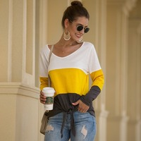 Patchwork T shirts Women Female Loose Long Sleeve Striped Tops Tee Lovely Girls Lady Clothing Camiseta
