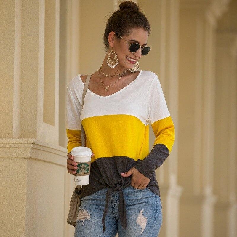 Patchwork T-shirts femmes femmes en vrac à manches longues hauts à rayure t-shirt belles filles dame vêtements Camiseta