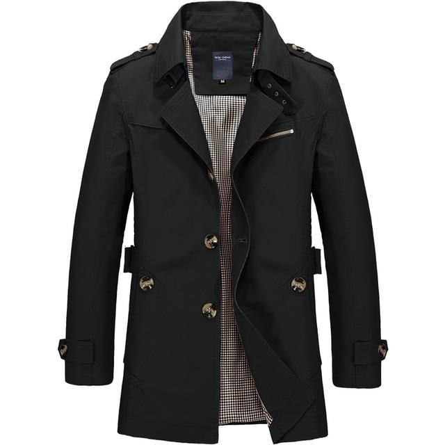 New Mens Business Jacket 2021 Fashion Autumn Men Long Cotton Windbreaker Jackets Overcoat Male Casual Winter Trench Outwear Coat 2