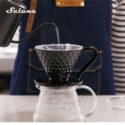 Ceramiczny kroplownik kawowy silnik V60 styl filtr do kawy filiżanka filtrowa stały wlać ekspres do kawy z oddzielnym stojakiem na 1 4 kubki w Filtry do kawy od Dom i ogród na