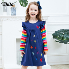 VIKITA Girls Long Sleeve Dresses Children Autumn Clothing for Kids Girls Cotton Dress Toddlers Striped Dresses Baby Girl Clothes miss haiwo fall kids dresses for girls pure cotton baby girl clothes stripes rainbow color girls long dress children s clothing
