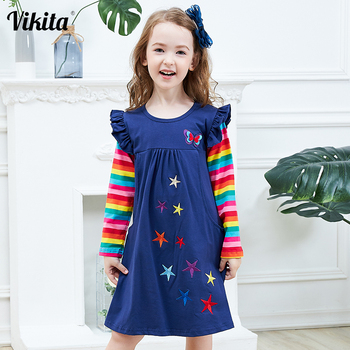 VIKITA Girls Long Sleeve Dresses Children Autumn Clothing for Kids Girls Cotton Dress Toddlers Striped Dresses Baby Girl Clothes high quality dresses and coat winter autumn baby wear clothes girls clothing long sleeve warm children dress child clothing