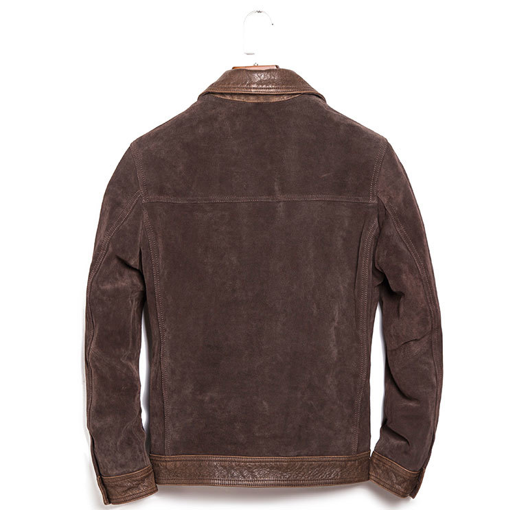 Autumn Leisure Style Men's Genuine Jacket Cowhide Suede Leather Winter Coat Lapel Slim Short Locomotive Clothing Brown